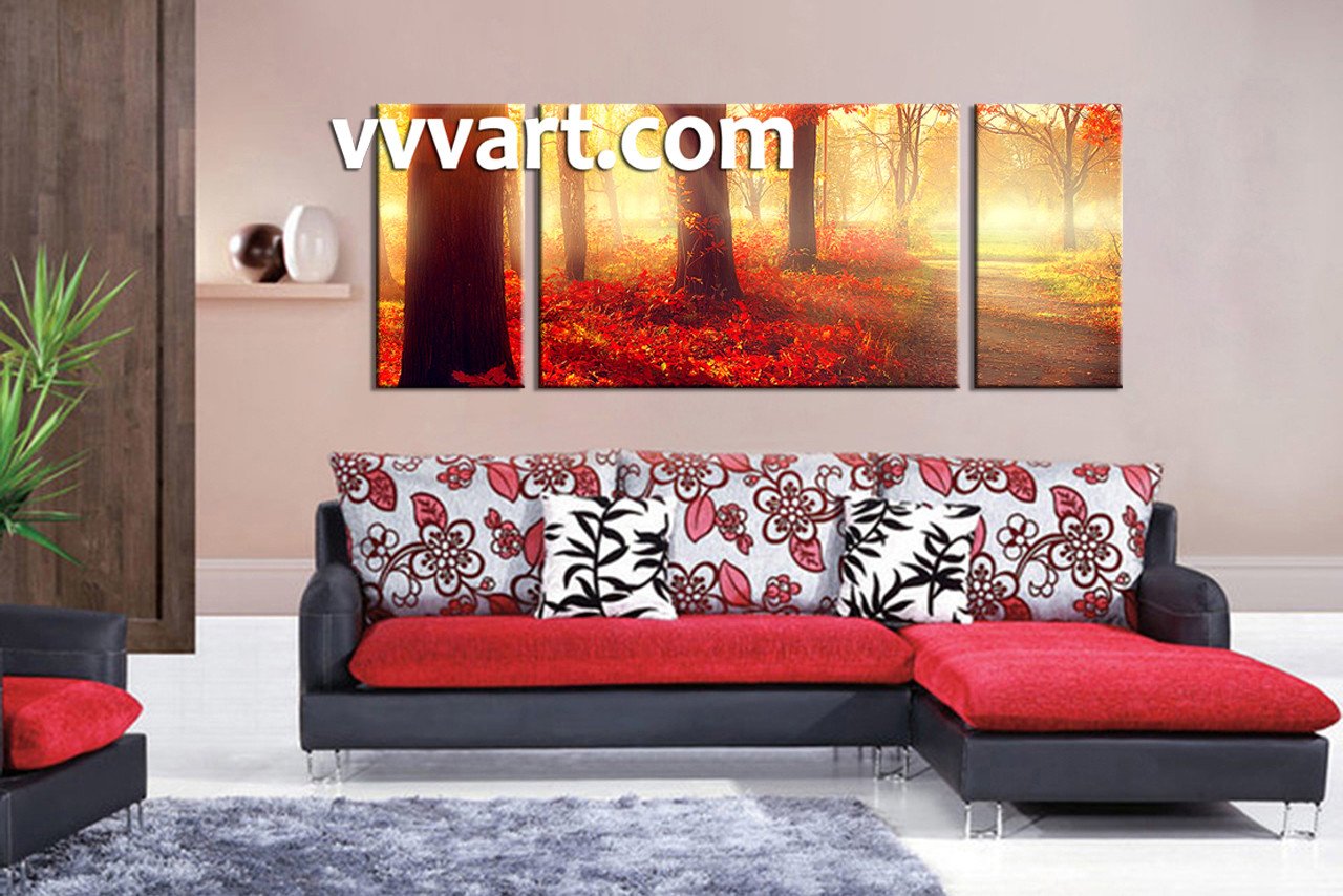 Red Wall Decor 3 Piece Red Autumn Scenery Canvas Wall Decor