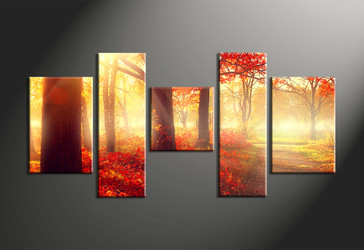 home decor,5 piece canvas art prints,forest canvas print, landscape canvas print,  scenery large canvas