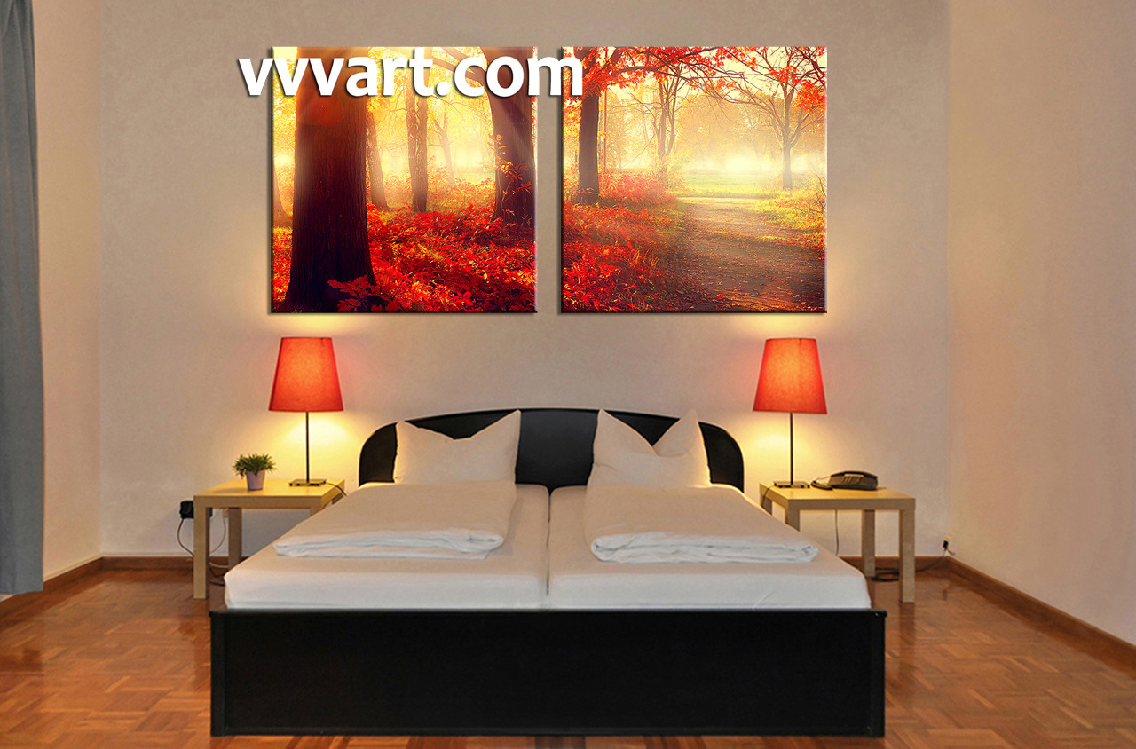 2 Piece Canvas Red Forest Scenery Artwork
