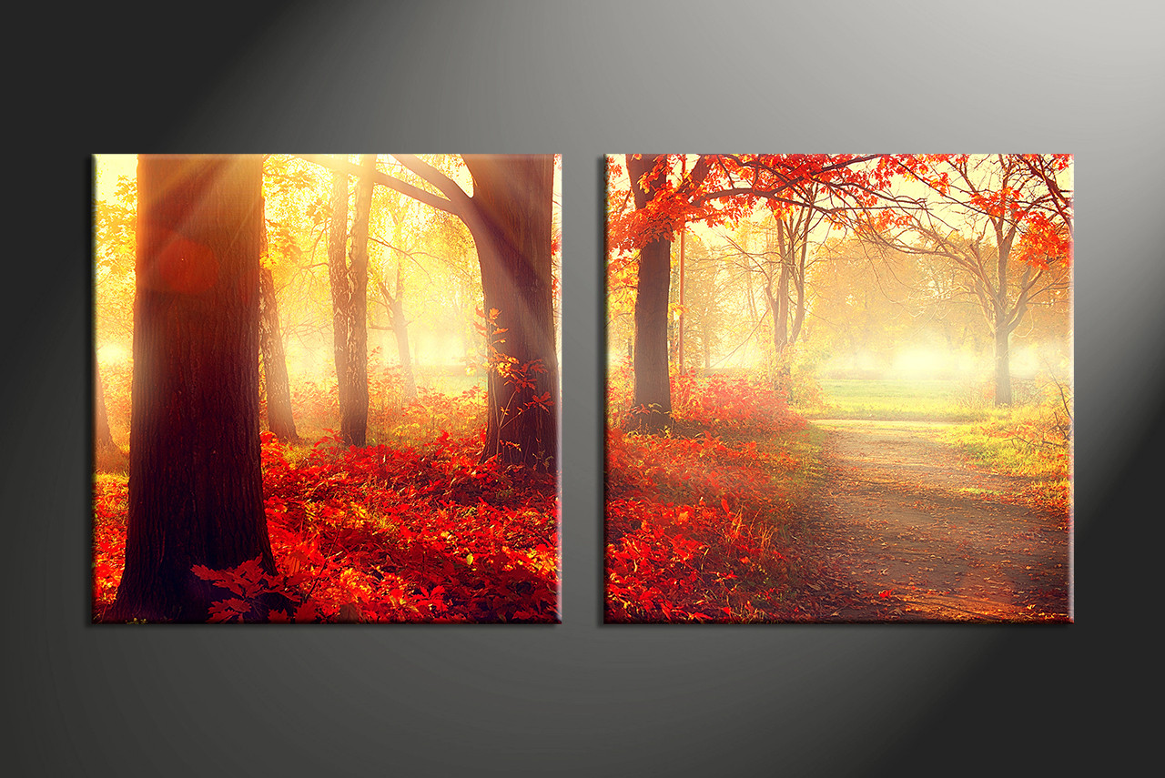 2 piece canvas red forest scenery artwork for Buy mural paintings