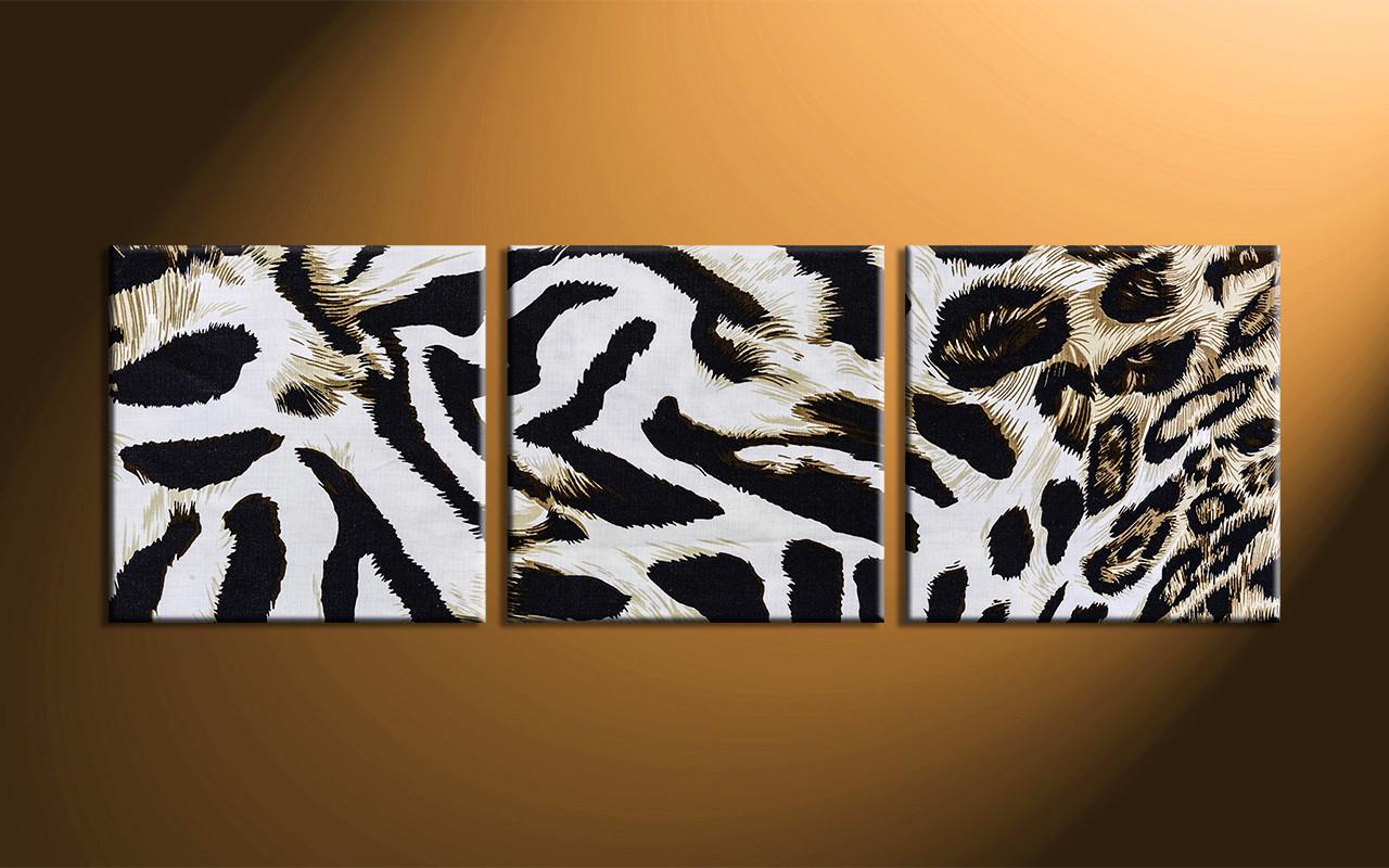 3 piece white canvas wildlife leopard skin art for African skin decoration