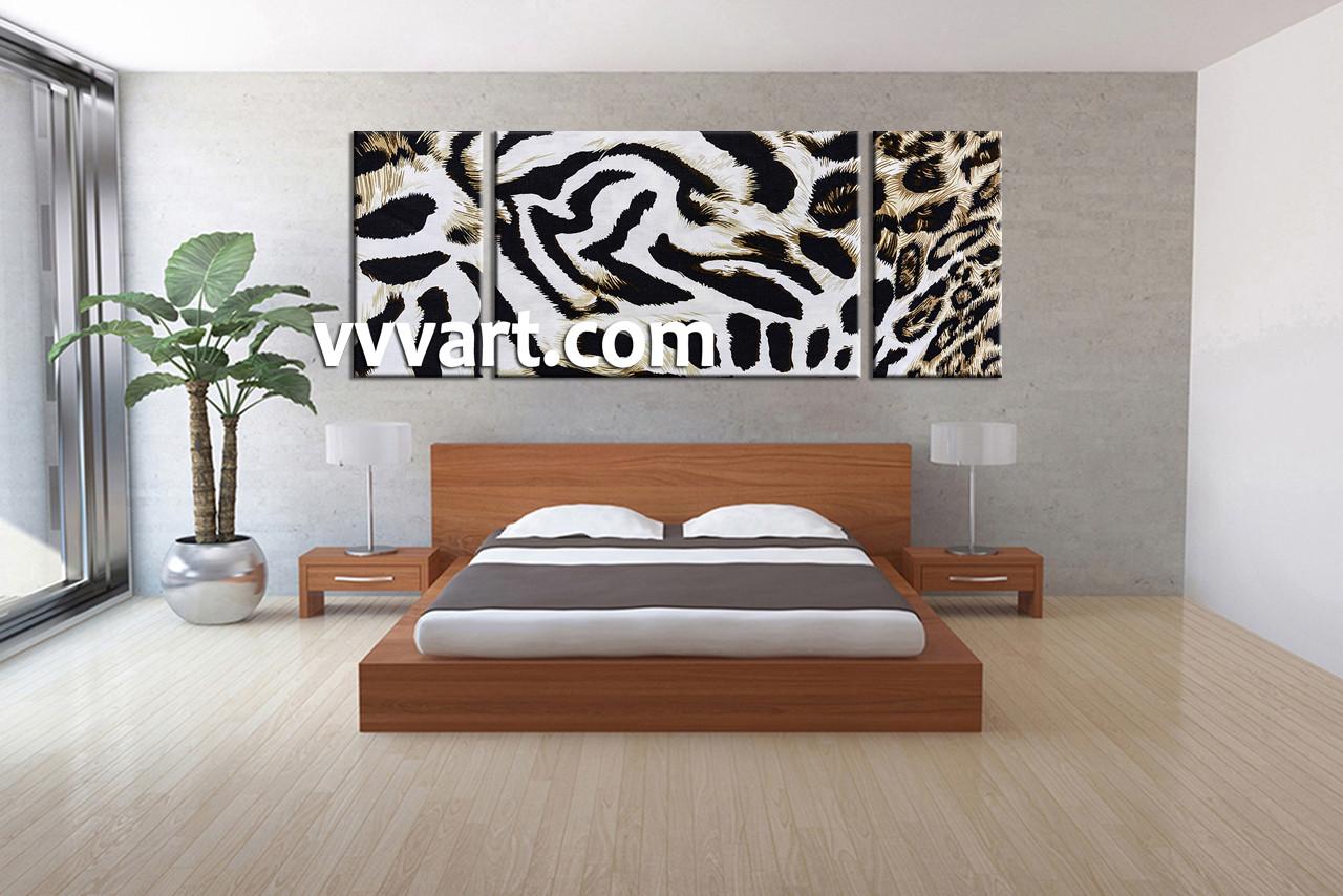 Triptych white canvas leopard skin wildlife artwork for African skin decoration