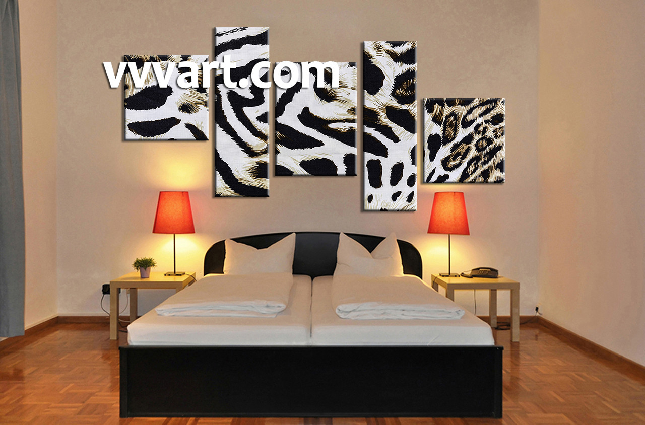 5 piece wildlife leopard skin white canvas wall art. Black Bedroom Furniture Sets. Home Design Ideas