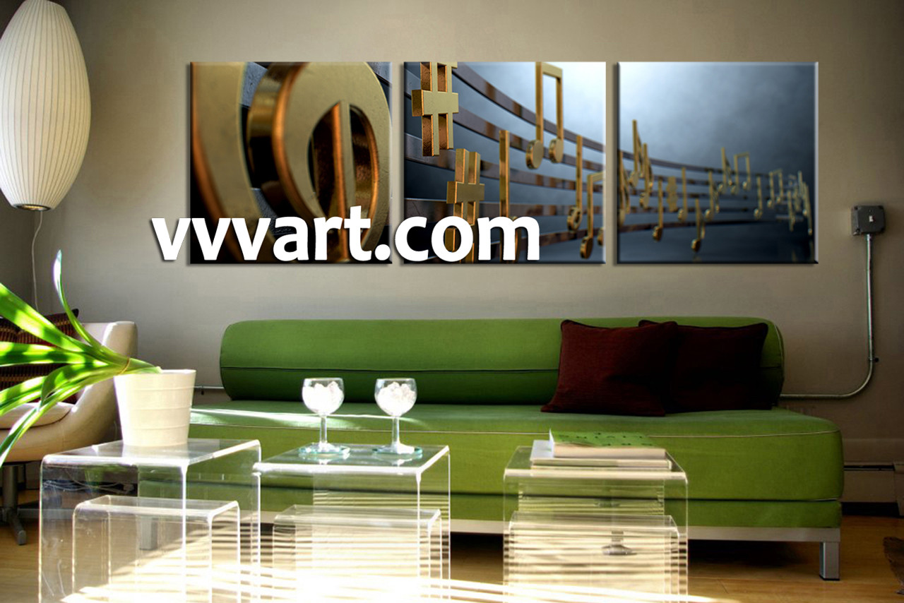 Living Room Art 3 Piece Canvas Wall Note Multi Panel Golden