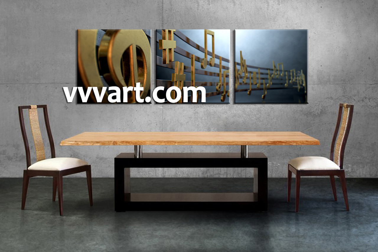 Dining Room Decor 3 Piece Canvas Wall Art Music Multi Panel Golden