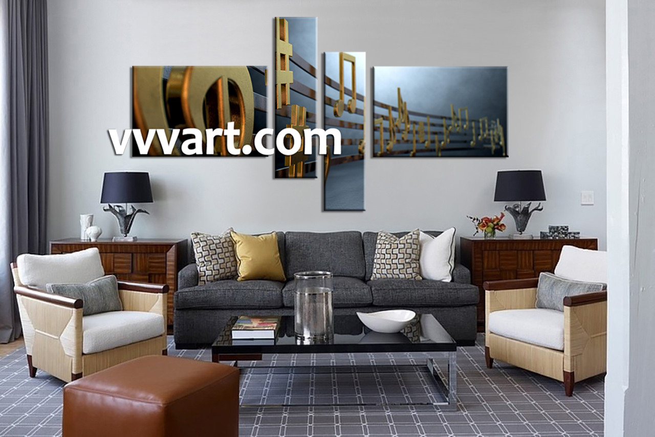 Music Living Room 4 Piece Grey Canvas Music Notes Large Pictures