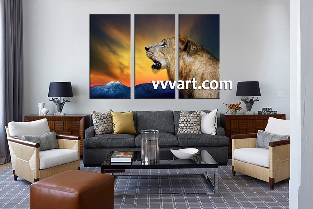 3 piece wildlife lion yellow wall decor living room canvas photography 3 piece wall art wildlife multi panel art mountain amipublicfo Image collections
