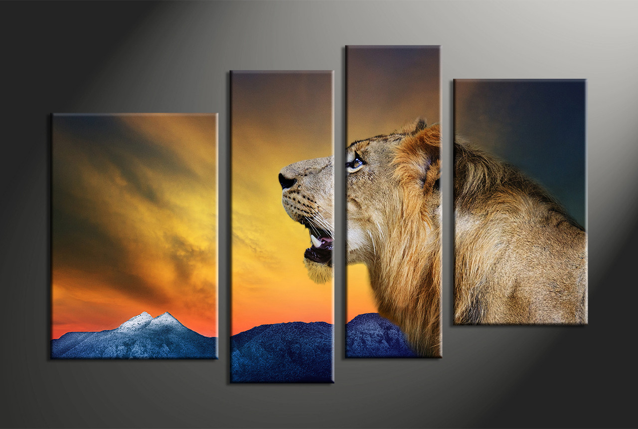 home decor 4 piece canvas art prints animal large canvas lion canvas print