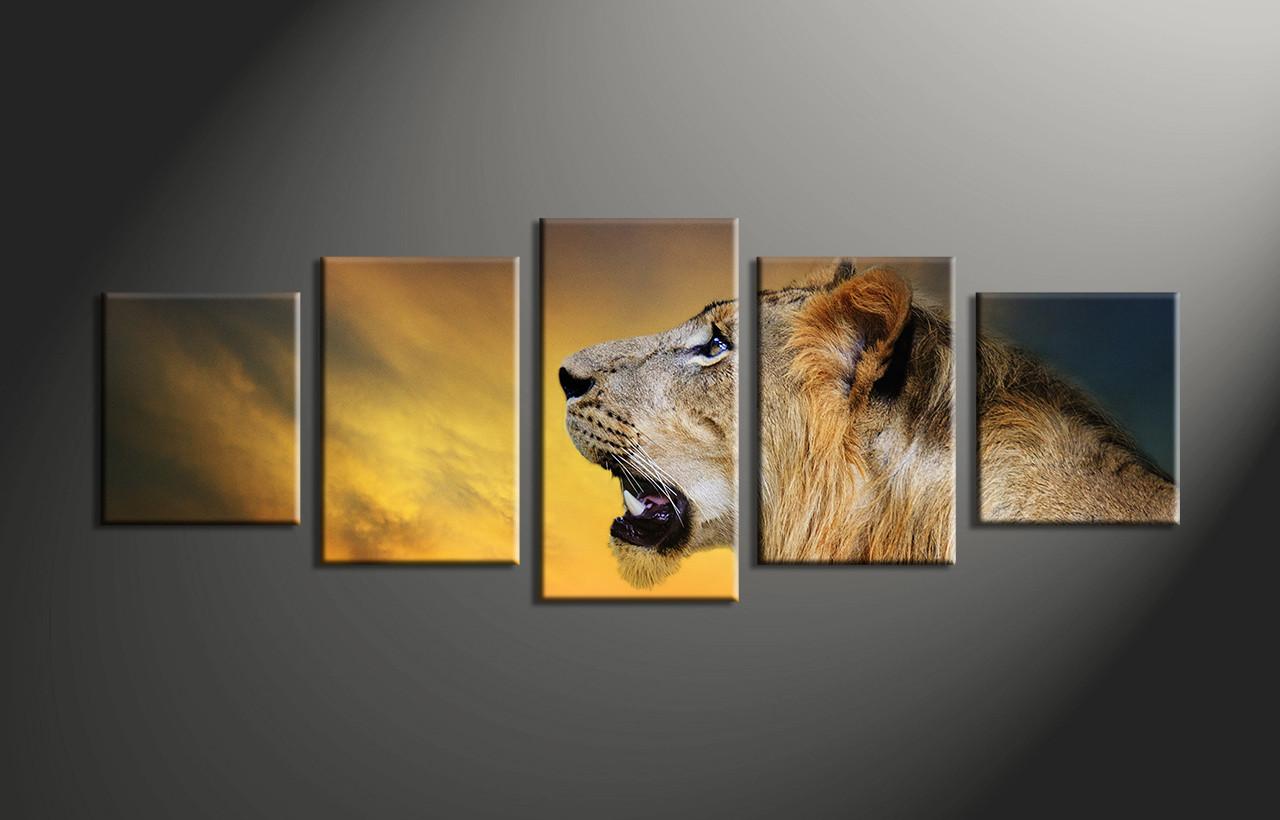 Home Decor, 5 Piece Huge Pictures, Animal Large Canvas , Lion Canvas Print,
