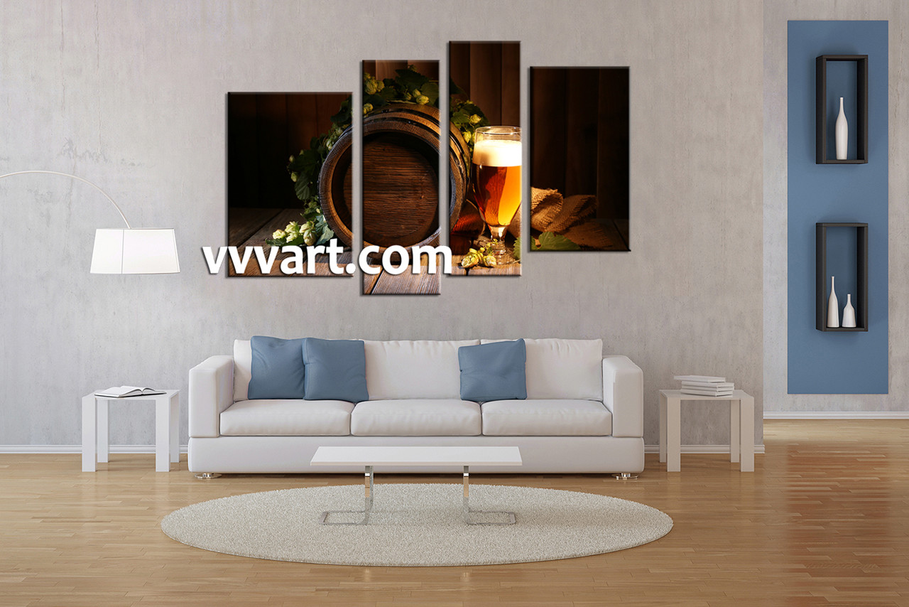Living Room Wall Decor, 4 Piece Canvas Art Prints, Abstract Canvas Print,  Wine
