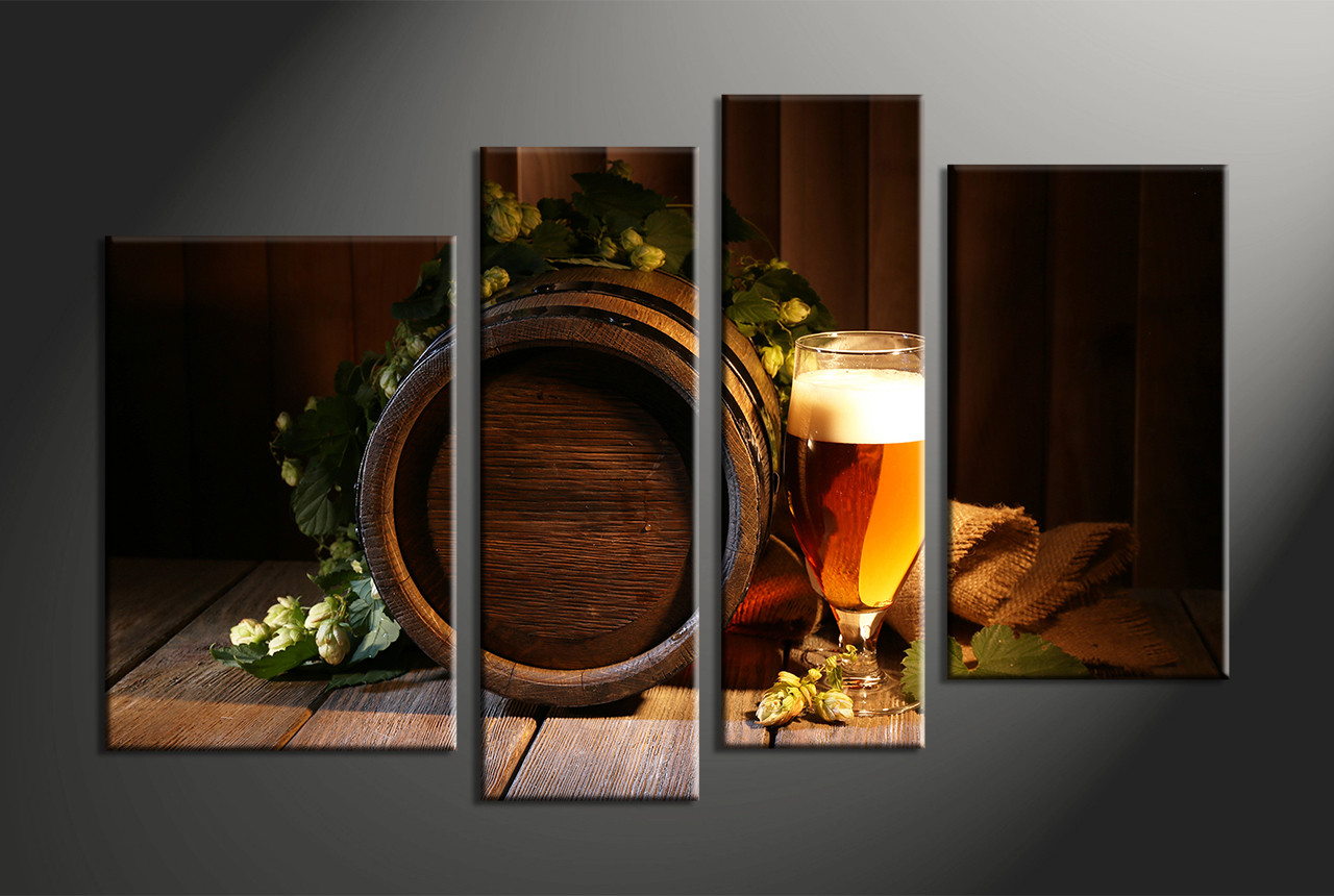 Wine Barrel Wall Decor 4 piece wine brown modern canvas wall art