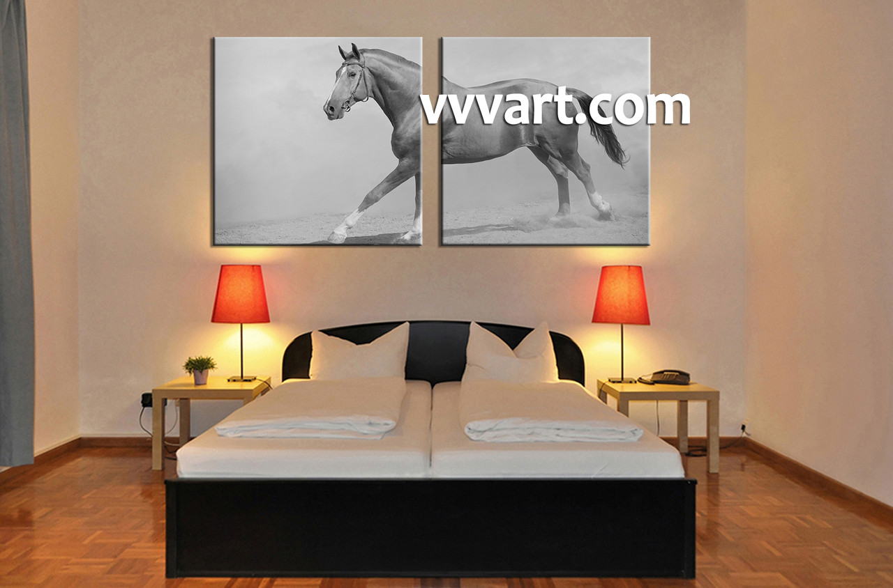 2 Piece Canvas Wall Art 2 piece black and white wildlife horse canvas wall art