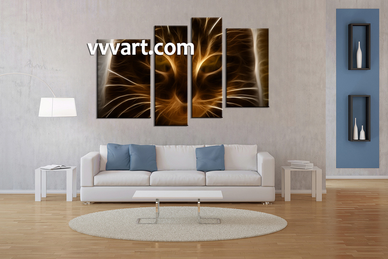 piece brown cat canvas photography - living room wall decor  piece canvas wall art abstract canvasphotography abstract