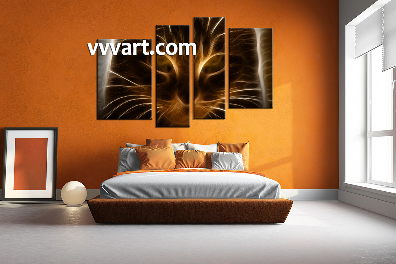 piece brown cat canvas photography - bedroom wall decor  piece wall art abstract multi panel art abstractartwork