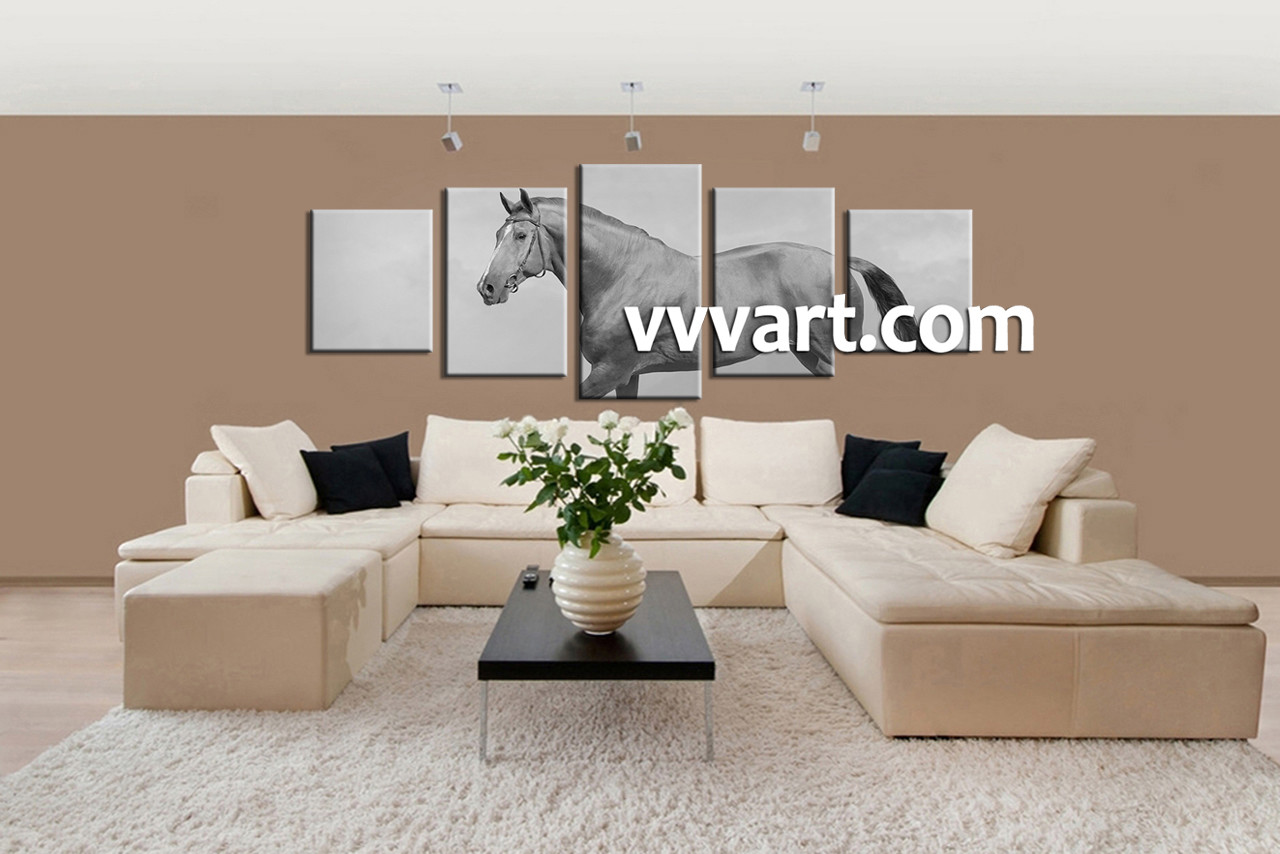 Living Room Canvas Wall Art, 5 Piece Large Pictures, Animal Huge Canvas Art,
