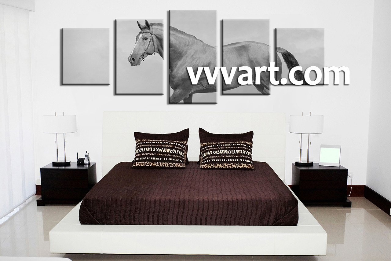 5 piece canvas horse black and white wall decor bedroom wall art 5 piece large canvas animal canvas print horse artwork amipublicfo Images