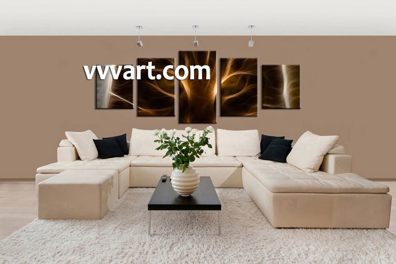 5 piece canvas brown cat huge pictures. Black Bedroom Furniture Sets. Home Design Ideas
