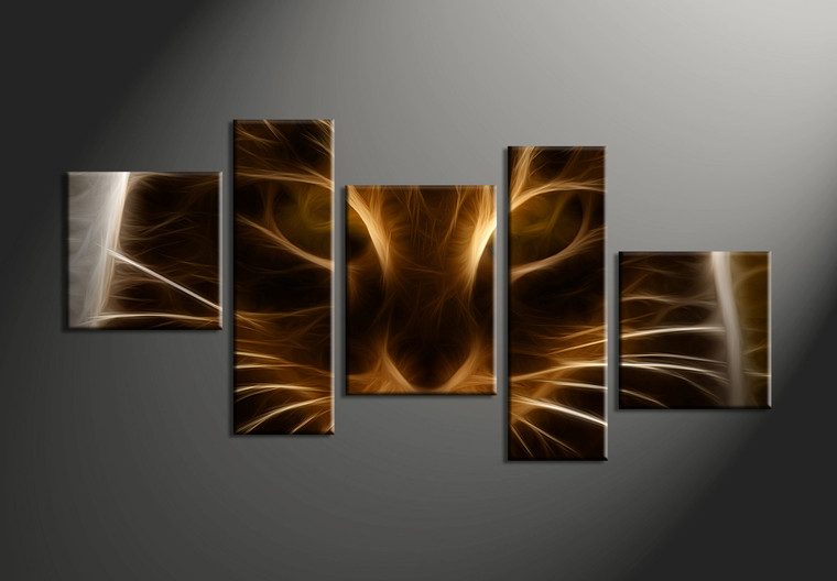 5 piece modern brown cat abstract canvas wall art. Black Bedroom Furniture Sets. Home Design Ideas