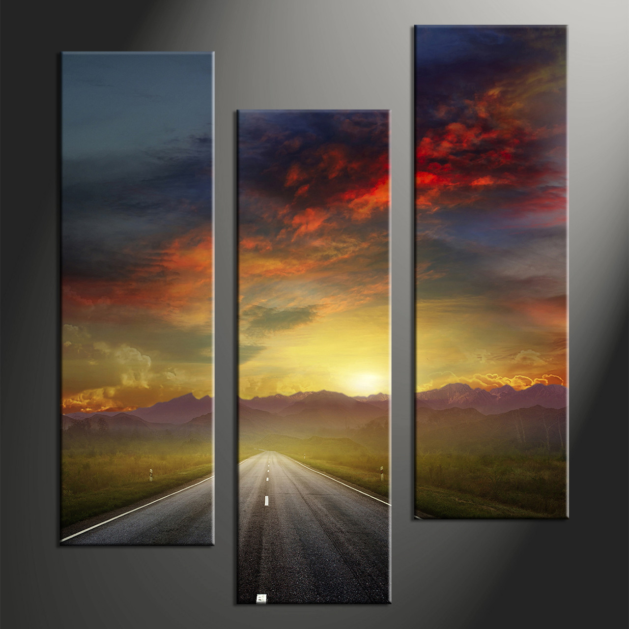 Large Framed Wall Art New York City Landscape Sunset: Triptych Colorful Sunset Landscape Mountain Multi Panel Canvas
