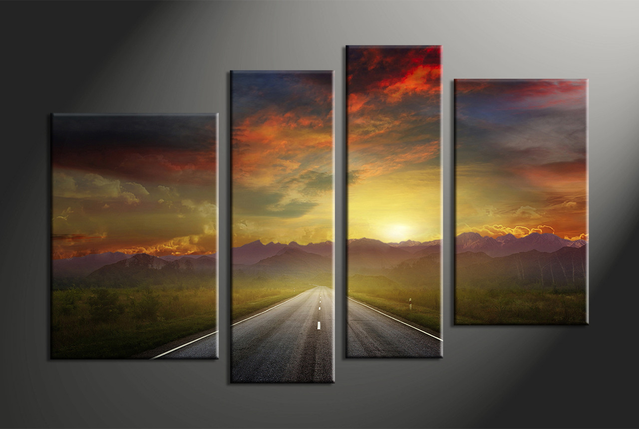 4 Piece Sunset Mountain Colorful Canvas Photography
