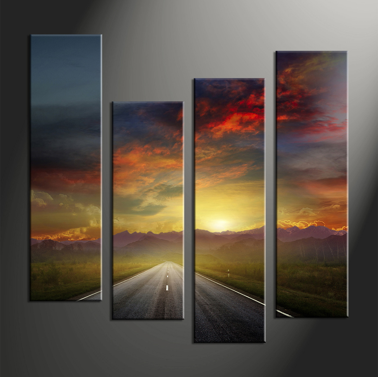 4 piece colorful sunset mountain pathway large canvas for Large colorful wall art