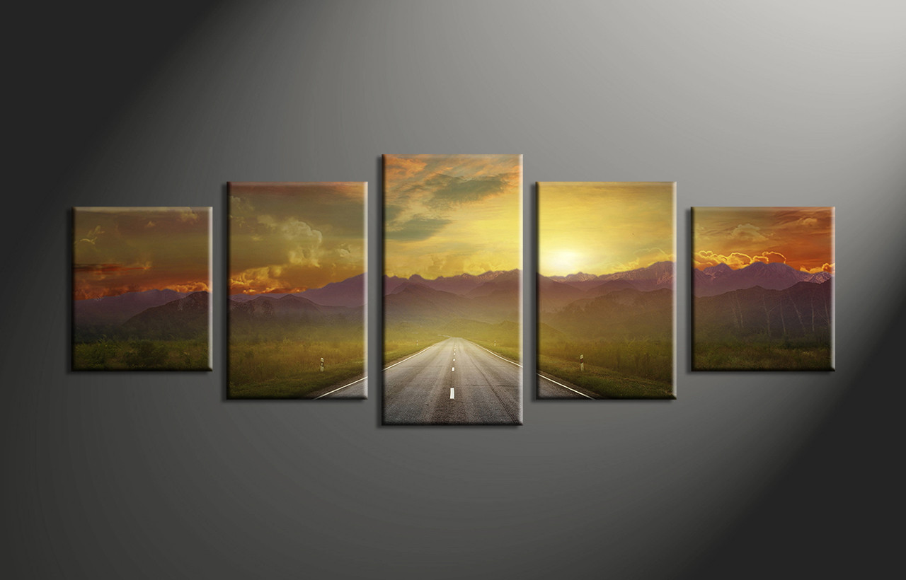 Home Decor,5 Piece Canvas Art Prints, Landscape Pictures, Evening Sunset  Multi Panel