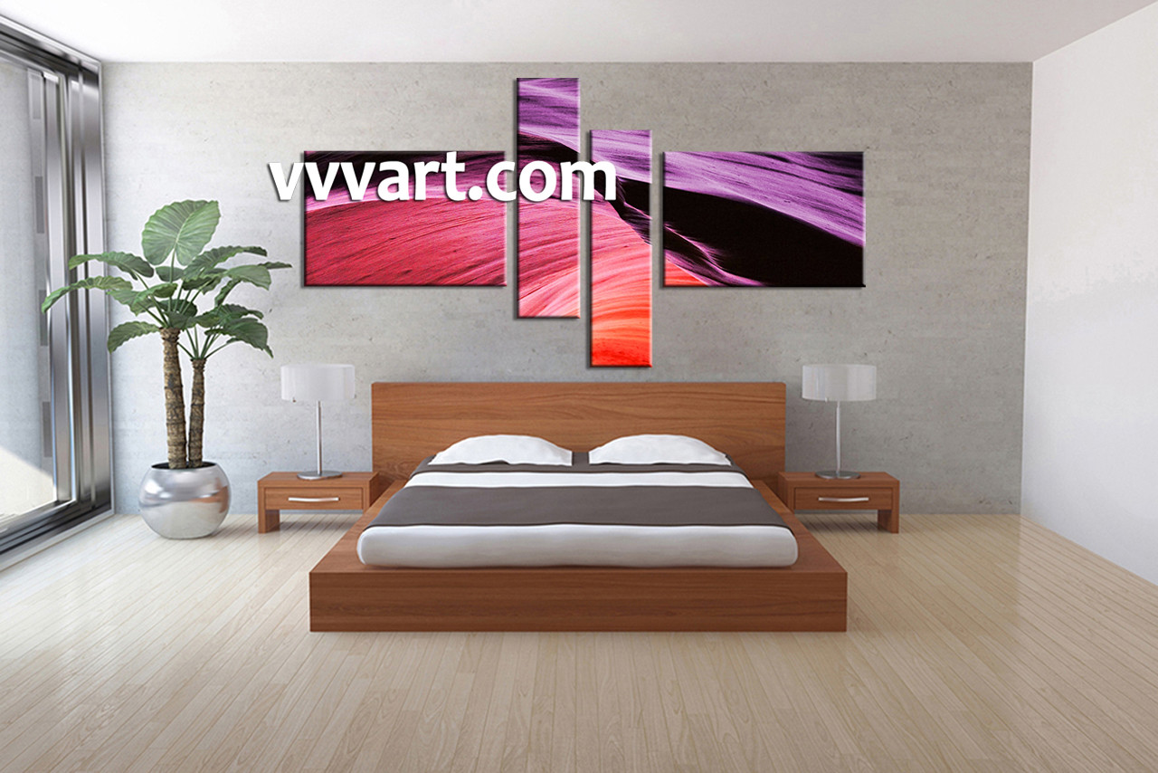 4 piece purple abstract multi panel canvas bedroom wall art 4 piece wall art abstract wall decor abstract artwork amipublicfo Image collections