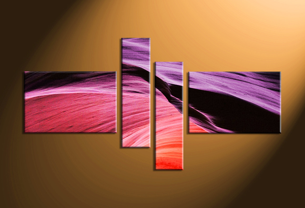 4 Piece Purple Abstract Multi Panel Canvas