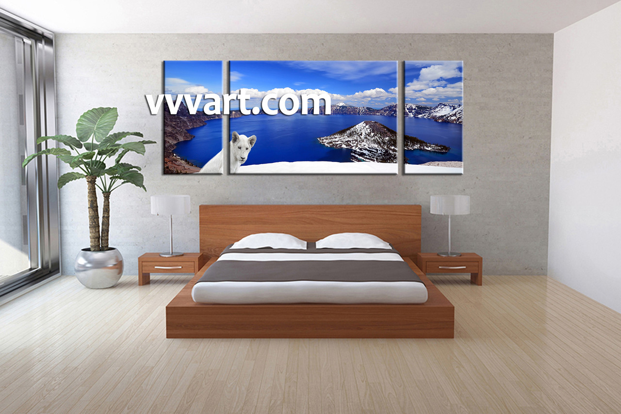 Bedroom Wall Decor, 3 Piece Pictures, Mountain Multi Panel Canvas, Scenery  Huge Pictures