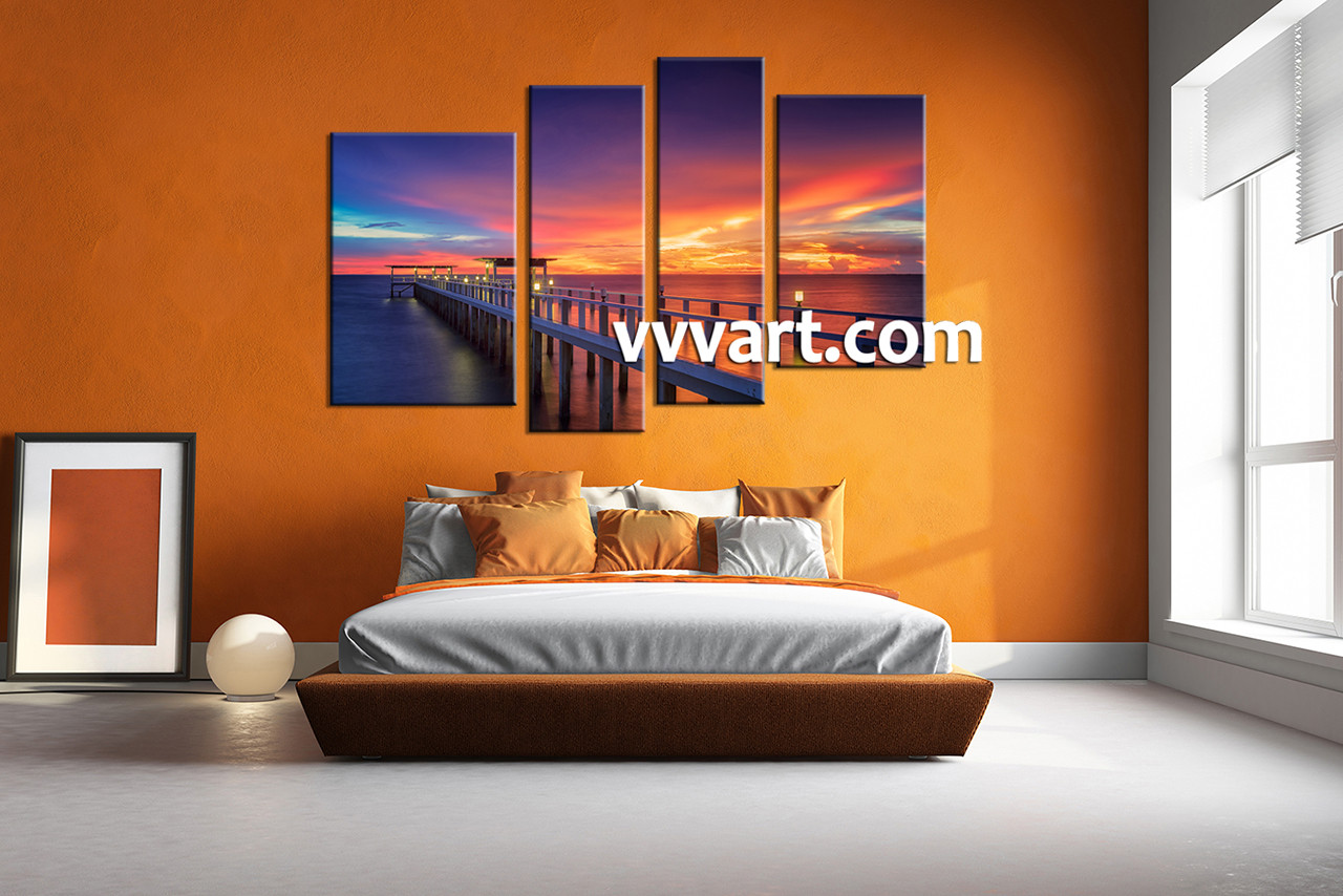 Piece Light Bridge Orange Canvas Photography - Light orange bedroom walls