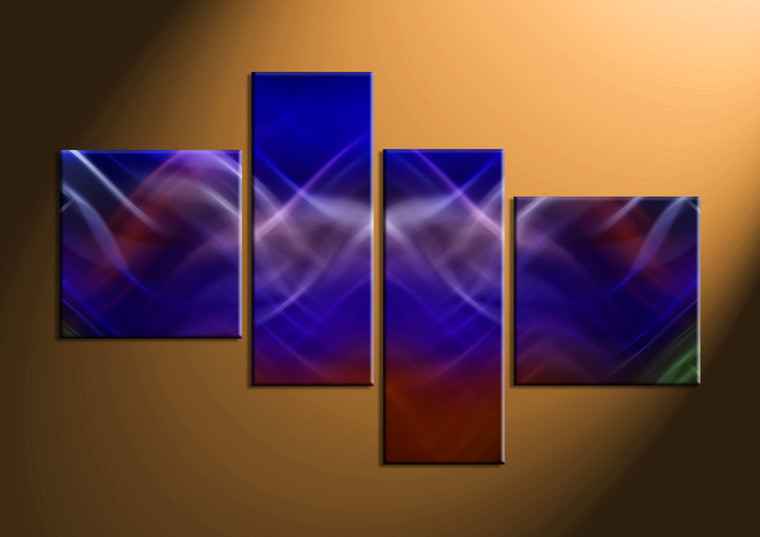 4 piece blue modern abstract canvas wall art. Black Bedroom Furniture Sets. Home Design Ideas