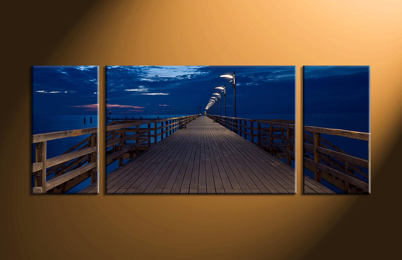 3 Piece Canvas Bridge Blue Ocean Huge Canvas Art