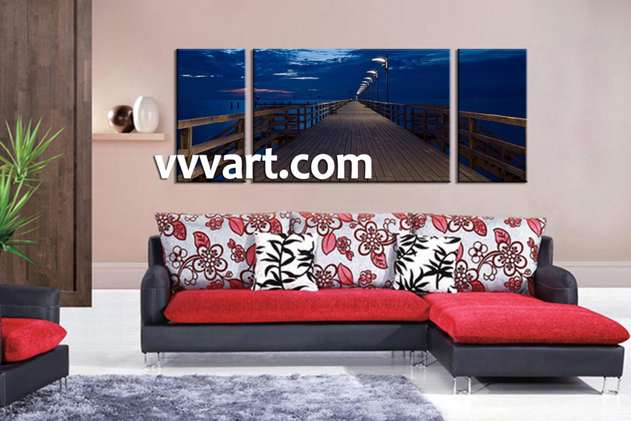 Living Room Art Decor 3 Piece Canvas Bridge Blue Ocean Huge Canvas Art