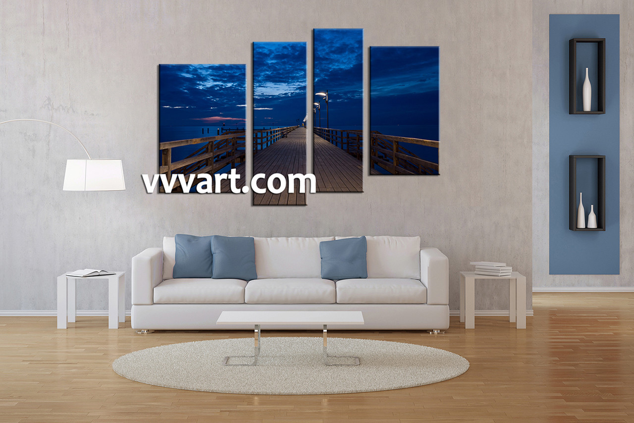 Beach Canvas Wall Art 4 piece canvas blue ocean night wall art decor