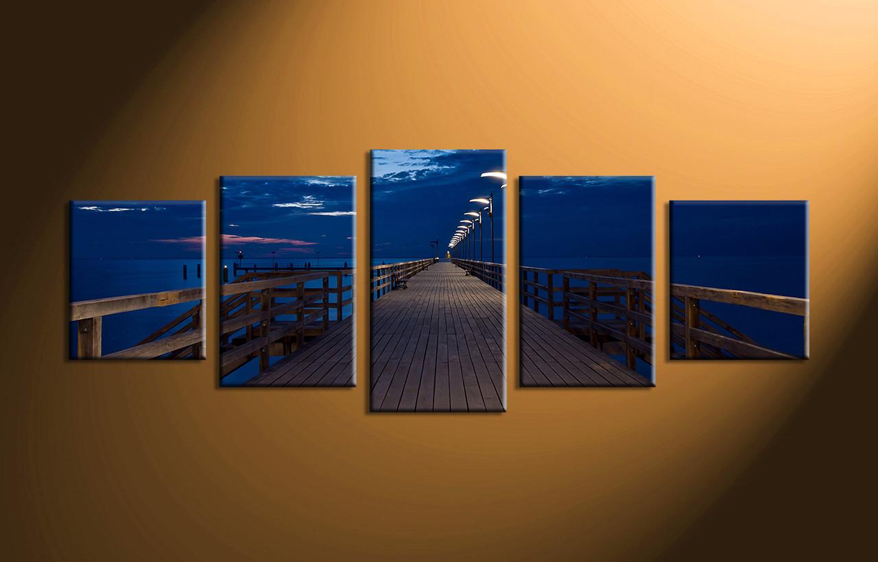 5 Piece Blue Ocean Bridge Canvas Photography