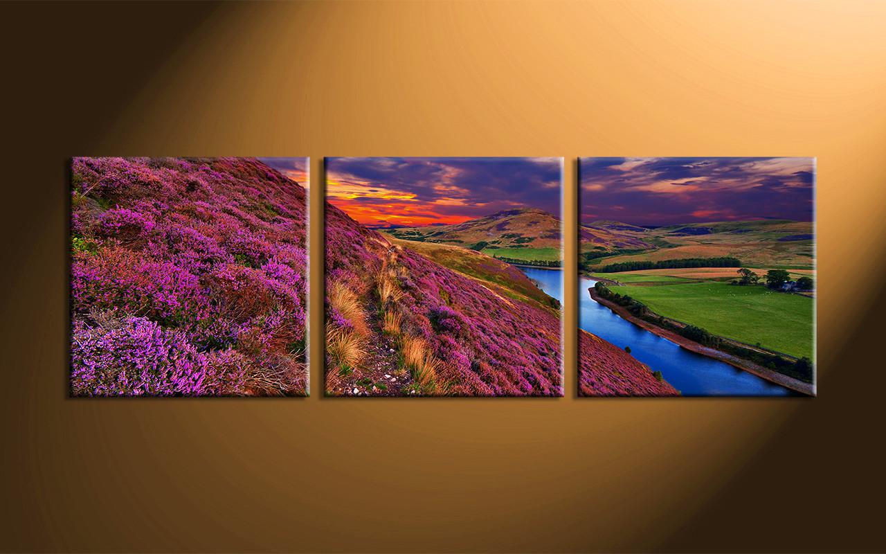 3 piece river landscape purple huge canvas art. Black Bedroom Furniture Sets. Home Design Ideas