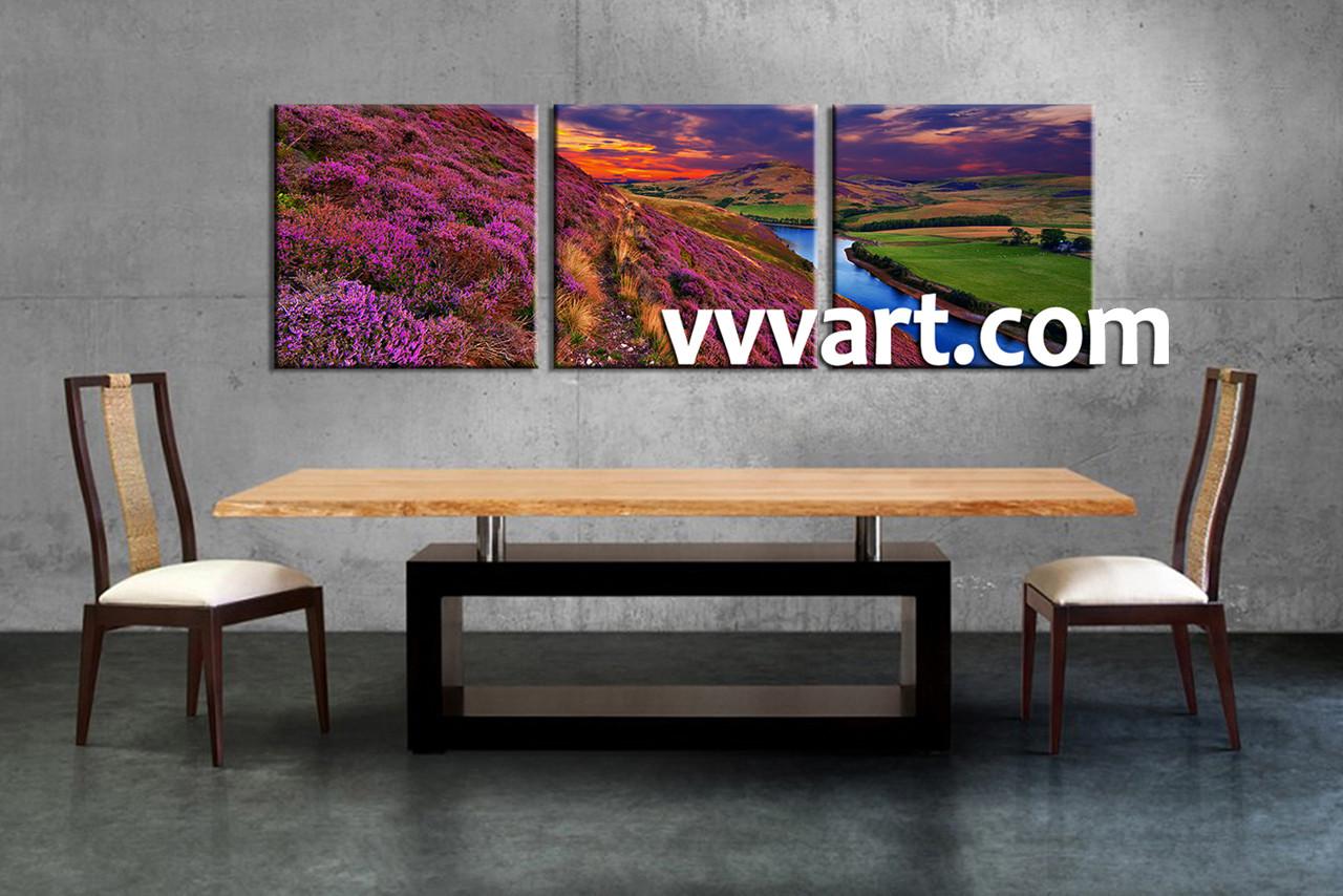 3 piece river landscape purple huge canvas art purple wall a