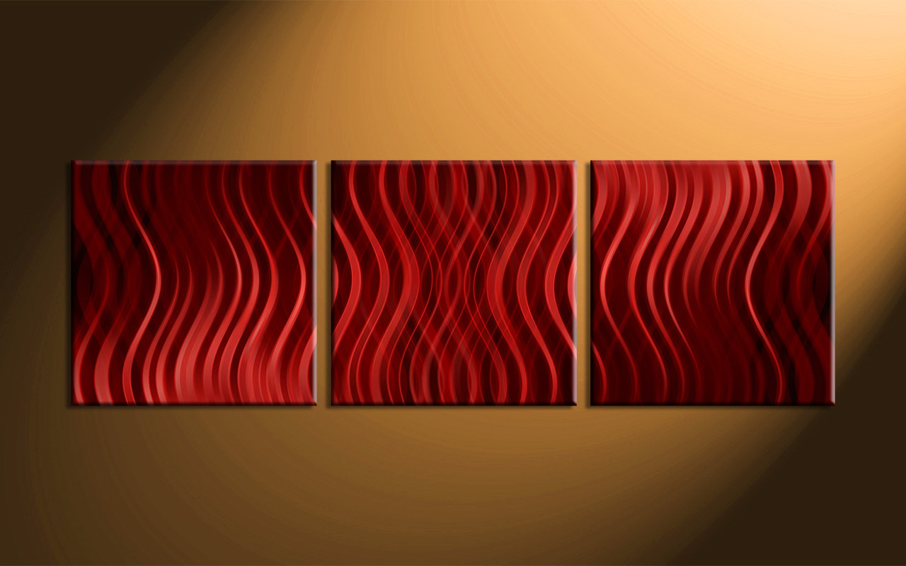 3 piece red canvas modern abstract multi panel art. Black Bedroom Furniture Sets. Home Design Ideas