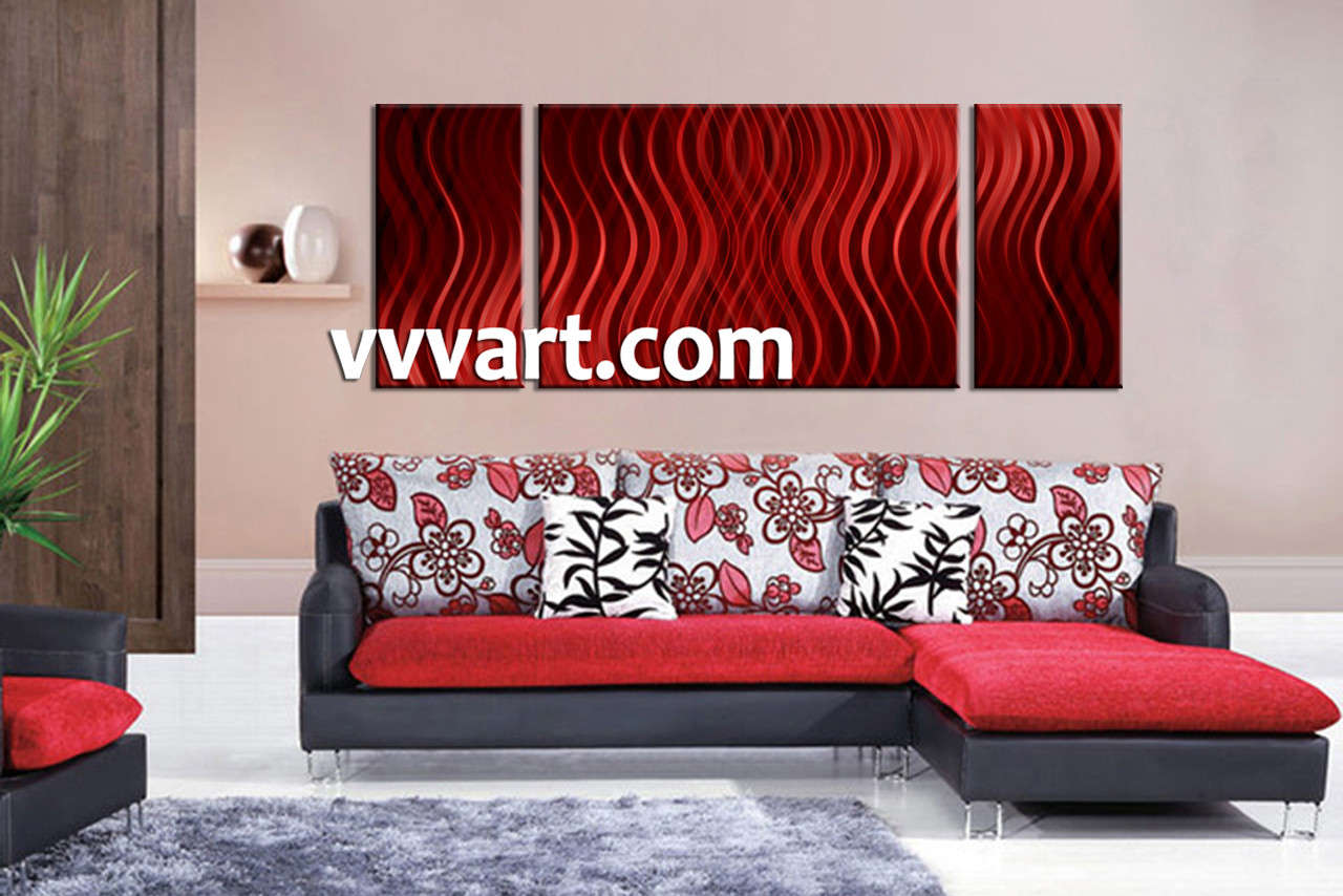 Living Room Canvas Paintings 3 Piece Red Abstract Canvas Photography