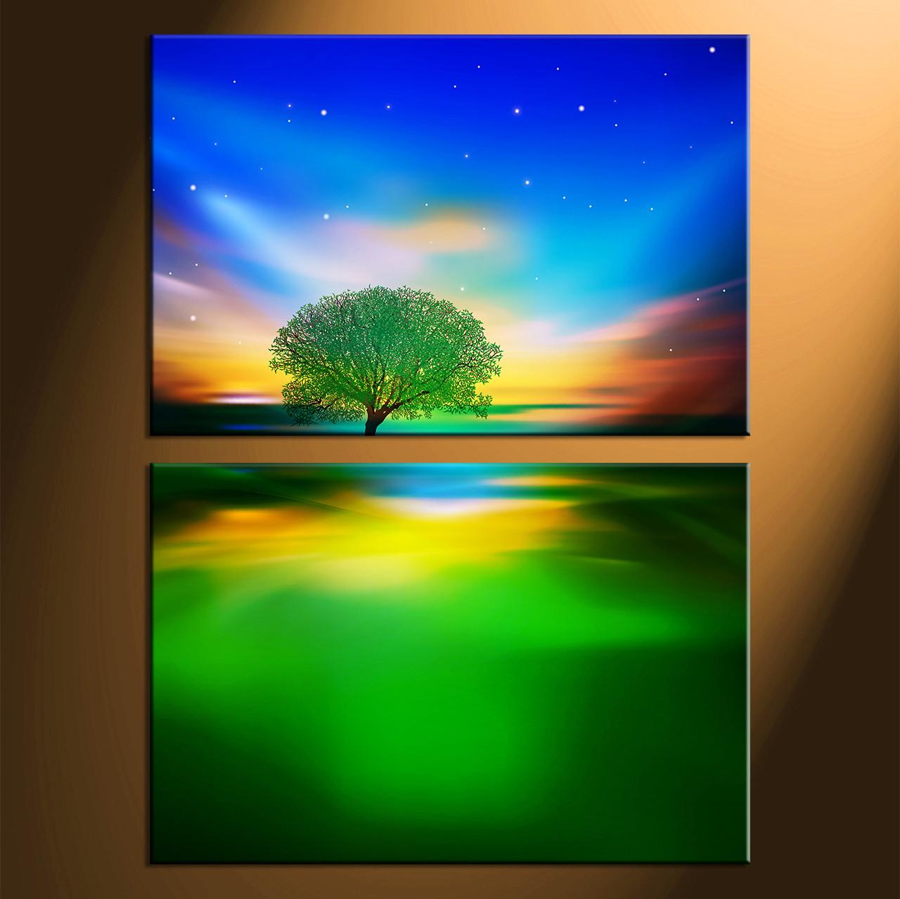 2 Piece Colorful Canvas Landscape Tree Wall Art Decor