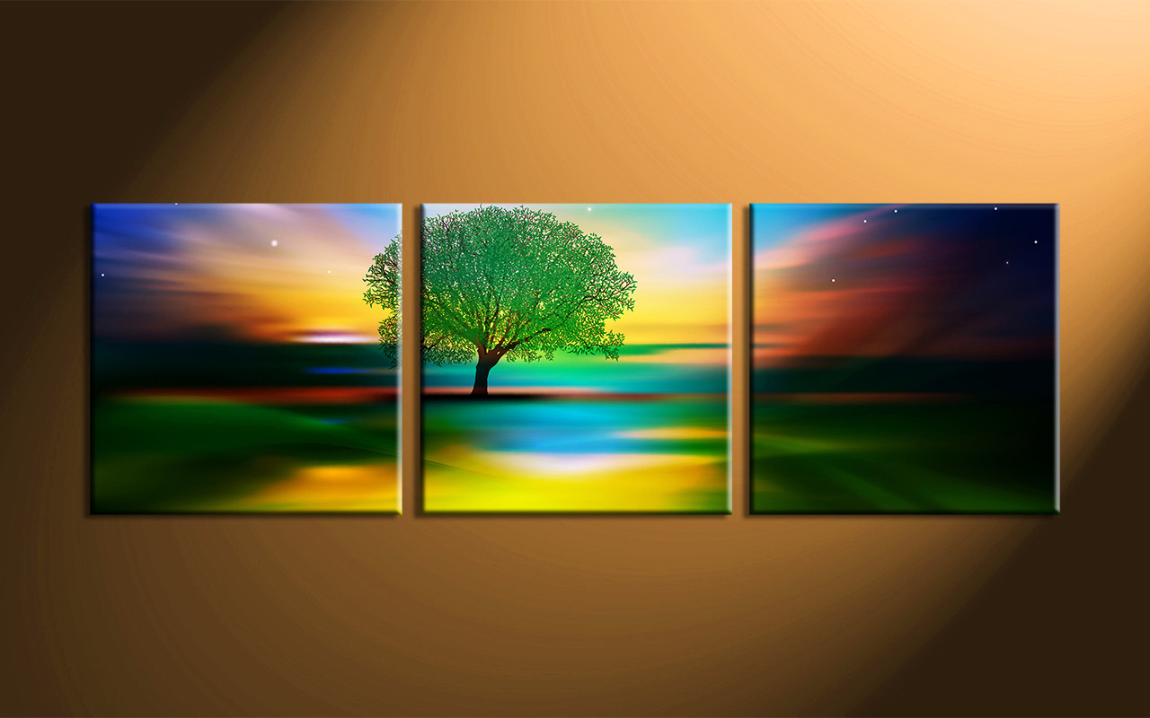 3 piece colorful landscape tree canvas wall art for Home decor on highway 6
