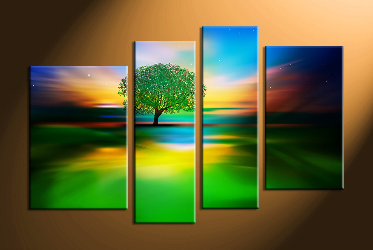 4 piece colorful landscape tree multi panel canvas