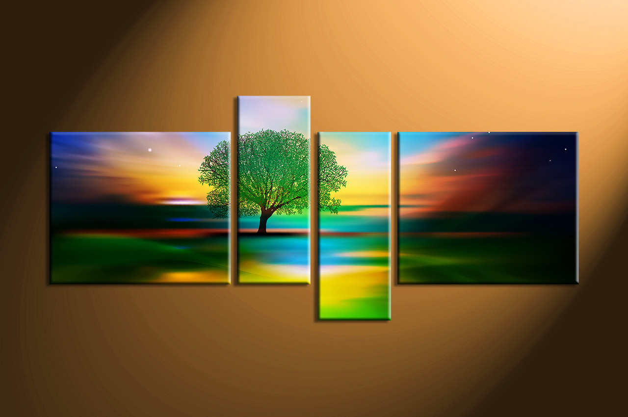 Tree Canvas Wall Art 4 piece colorful stars landscape tree canvas wall art