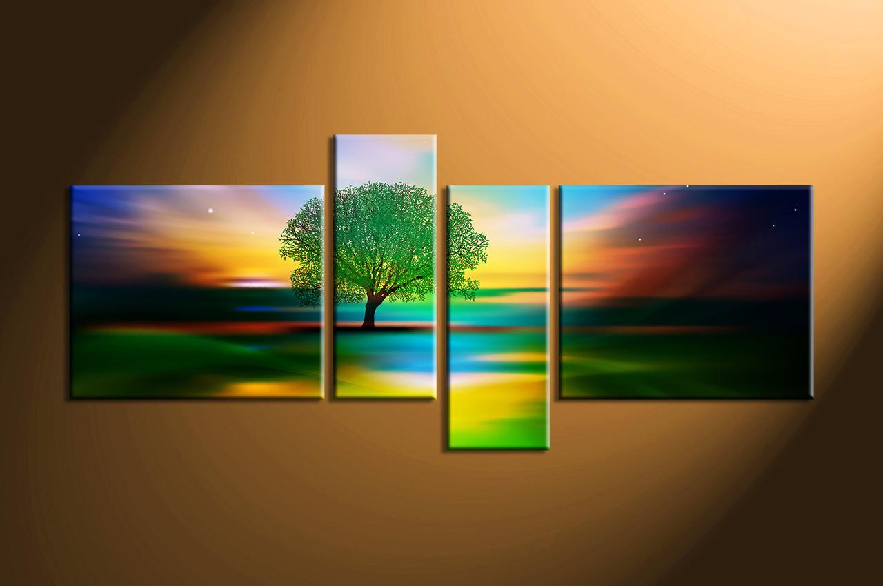 Nature Photo Canvas, Home Decor,4 Piece Artwork, Landscape Canvas Print,  Tree