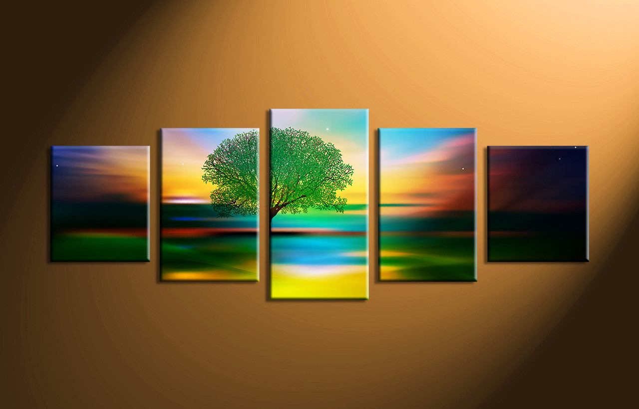 5 piece colorful landscape stars large canvas for Large colorful wall art