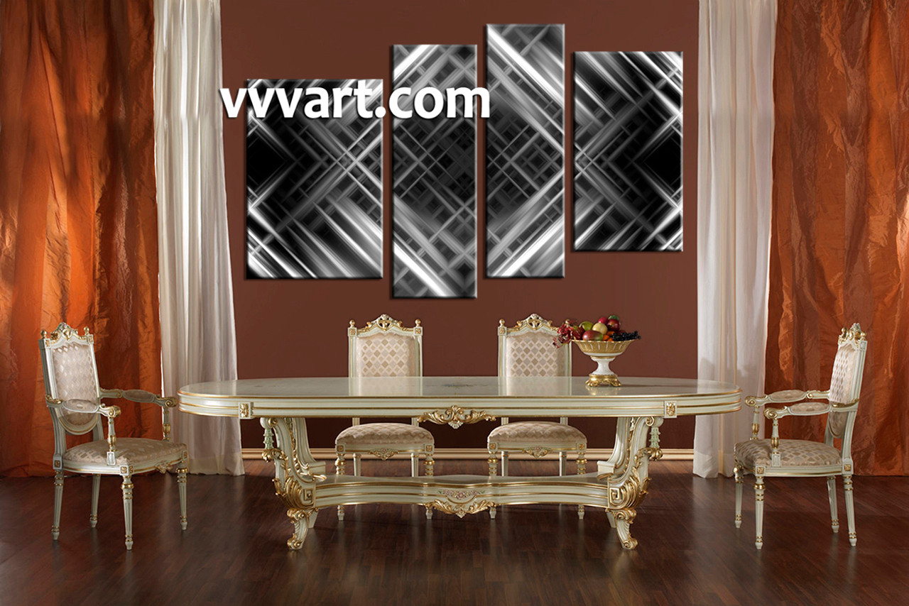 4 piece canvas grey abstract wall decor for Dining room artwork prints