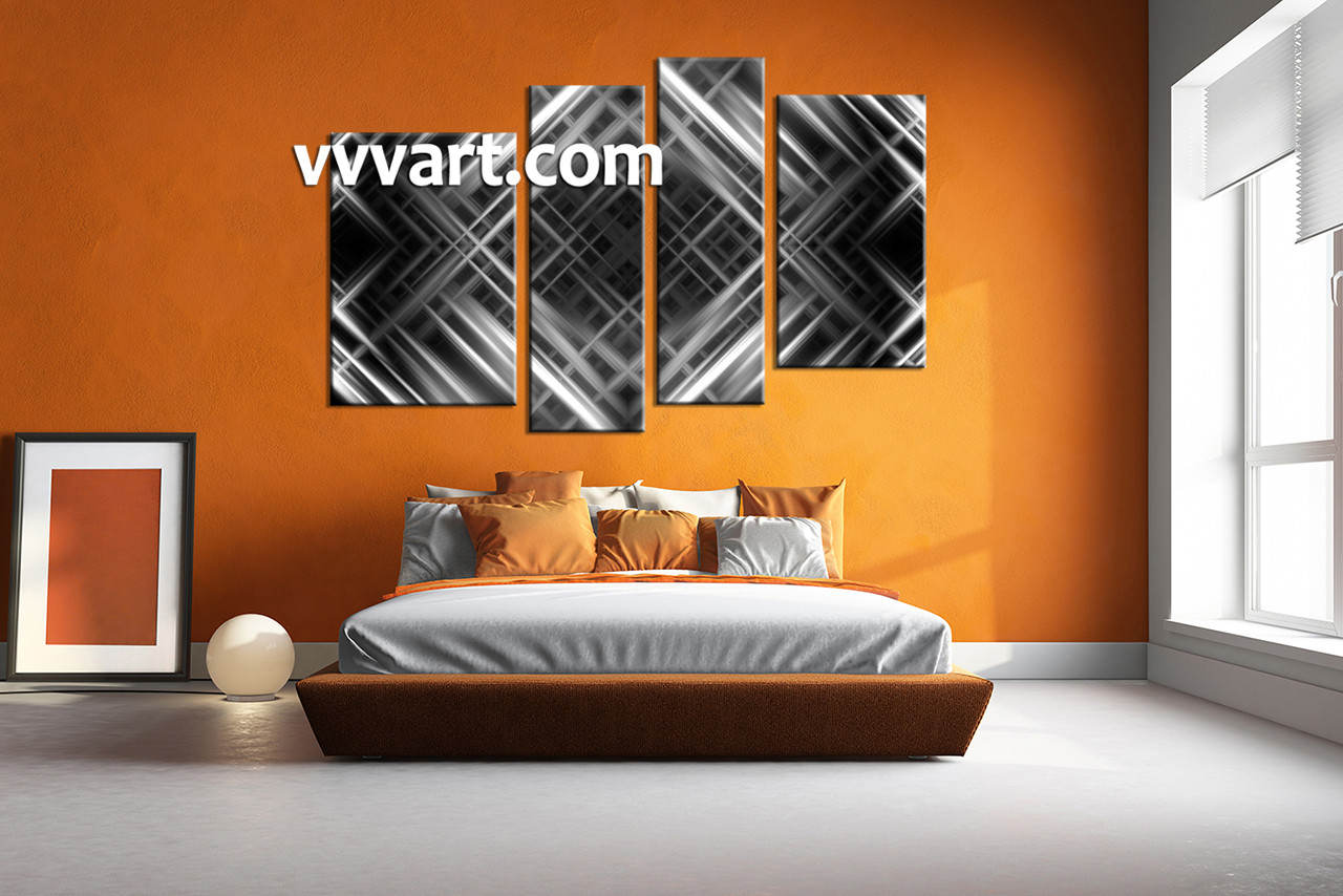 Bedroom wall art 4 piece wall art abstract multi panel art black and