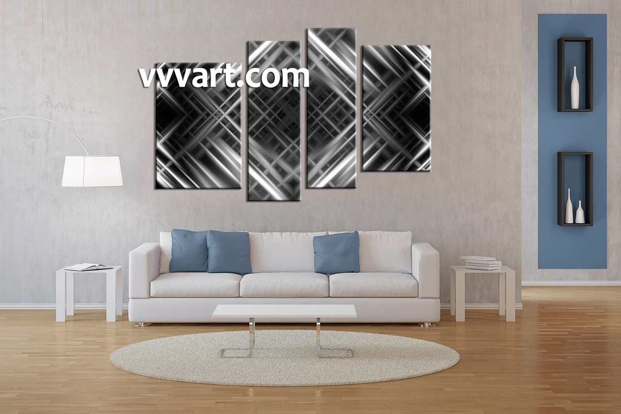 Living Room Decor, 4 Piece Canvas Wall Art, Black And White Multi Panel  Canvas