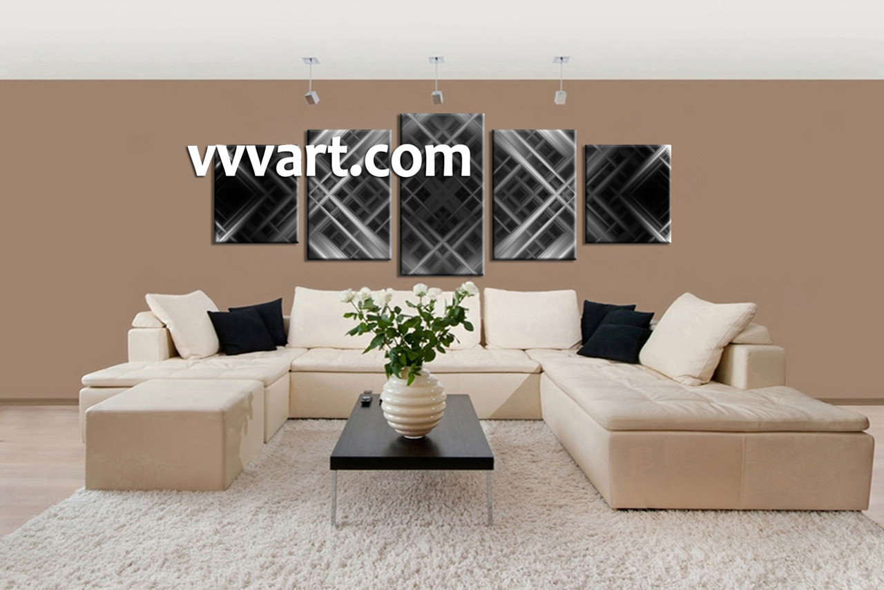 Living Room Art, 5 Piece Canvas Wall Art, Abstract Multi Panel Canvas, Black