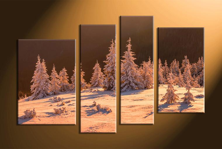 4 Piece Brown Canvas Sepia Landscape Huge Pictures